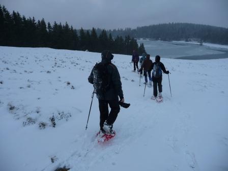 Raquettes à neige, en direction du lac Servières