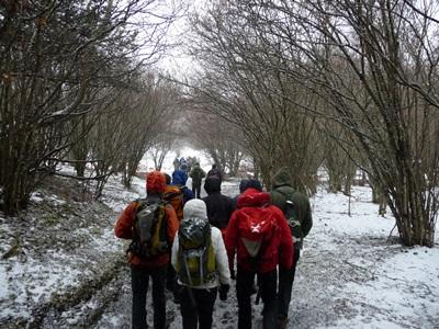 Les accompagnateurs en montagne d'Auvergne ont aider à monter au Pariou, piquets et fil de guidage.