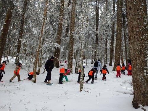 Les enfants slaloment entre les arbres, raquettes à neige au pied